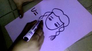"""How to draw a girl face using Alphabet """"U"""""""