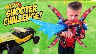 Iron Spider-Man NERF Shooter Challenge!! Super Hero Gear Test for Kids