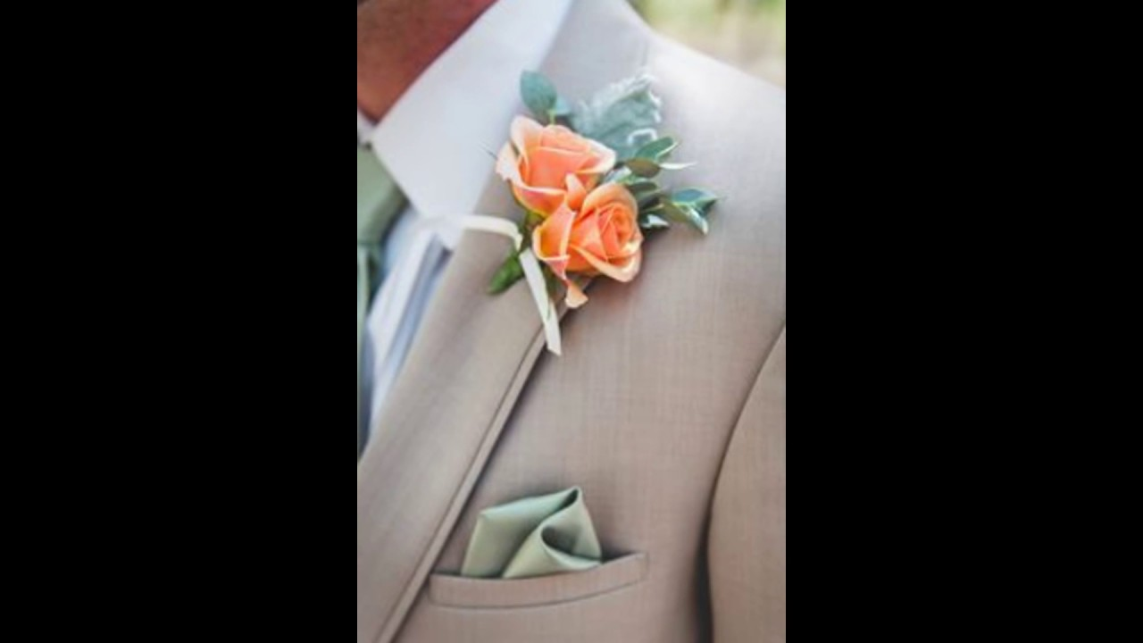 Peach Garden Rose Boutonniere peach rose boutonniere and khaki wedding suit - youtube