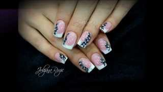 Brillbird Salon nails   Classic french with black flowers
