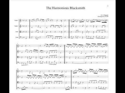 Handel The Harmonious Blacksmith, for string quartet, CH112
