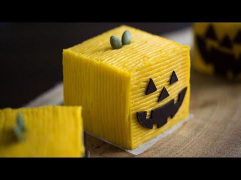 [ASMR]ハロウィンのケーキ・スイーツ・お菓子|かぼちゃとホワイトチョコの四角いモンブランケーキ