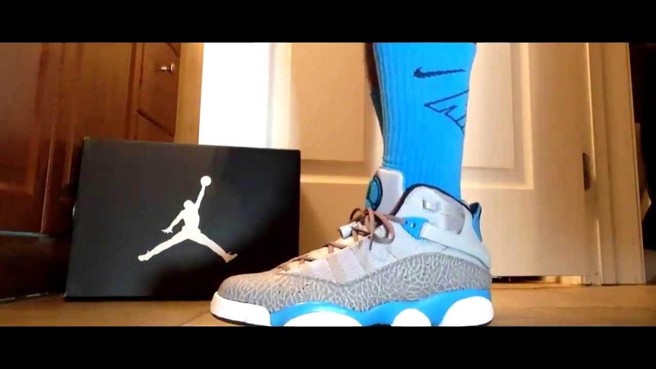 Jordan 6 Rings   Powder Blue   On Feet