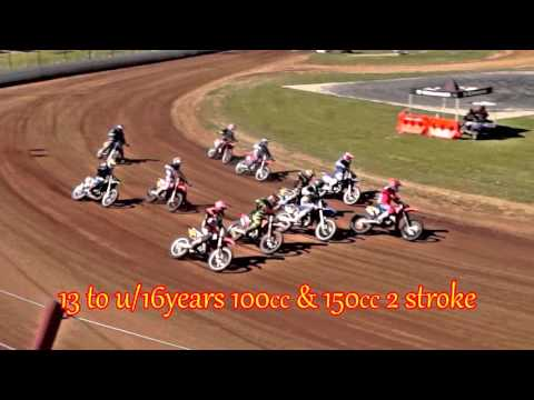 2015 Aust. Long Track - 13 to U16 years 100cc and 150cc 2 stroke Heats 1 and 2 - dirt track racing video image