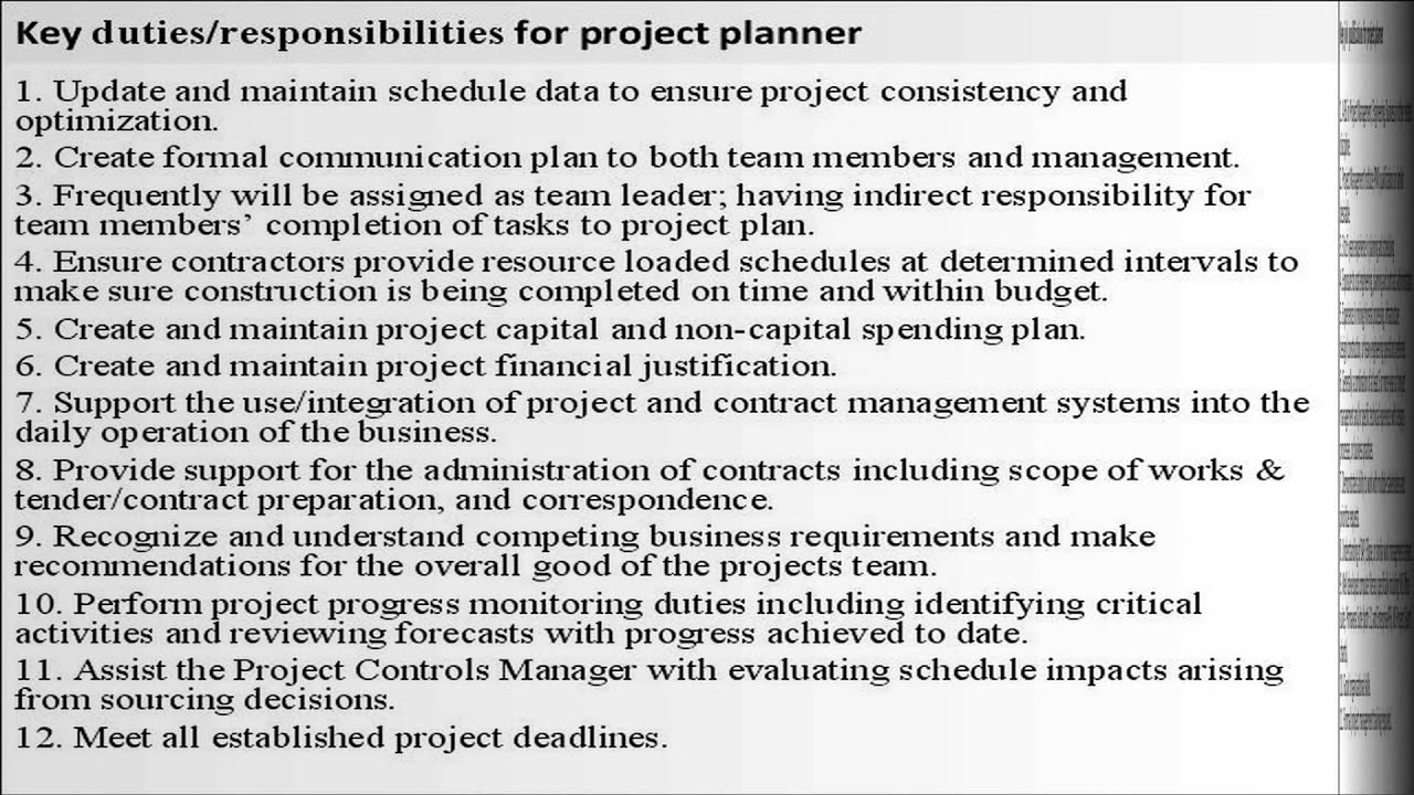 Project planner job description - YouTube
