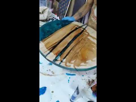 Round Table turquase how to shine diy Amazing Epoxy resin table - Agartha Workshop - ETSY