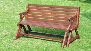 Скамья-трансформер своими руками.Чертеж Wood Picnic Bench And Table * 2 In 1 *