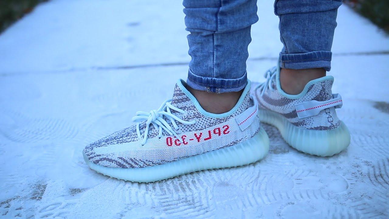 adidas yeezy boost 350 v2 blue tint on feet
