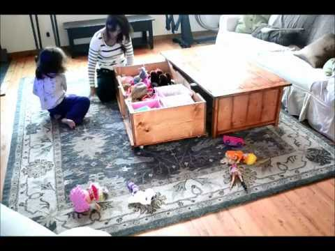 Great DIY Coffee Table With Hidden Toy Box Trundle   YouTube