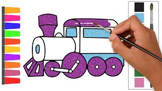How to Draw a Train / Easy Funny Drawing and Coloring With Glitter Color for kids with Songs