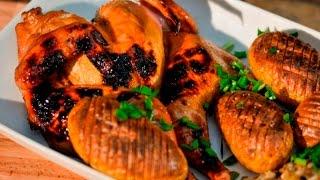 Цыплята-корнишоны с запечённым картофелем