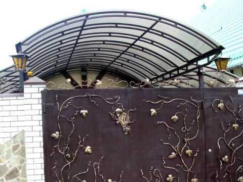 Большой навес из поликарбоната во дворе частного дома Днепр