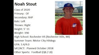 Noah Stout Class of 2020 Summer Baseball Highlights 2017