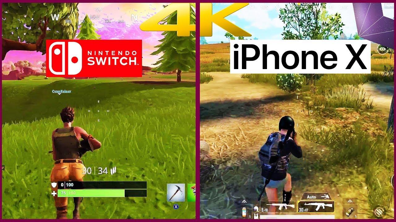 Fortnite Nintendo Switch Vs Pubg Iphone X First 4k Comparison 4k60 Fps 2160p