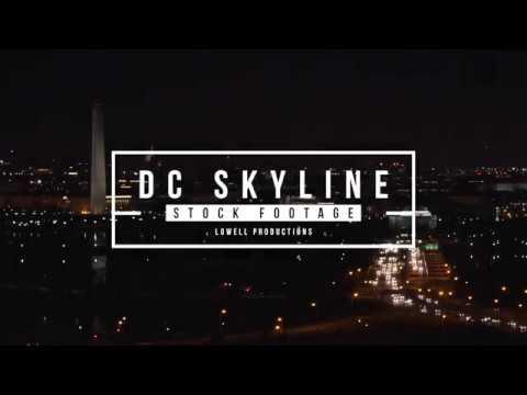 Washington DC Skyline at night Stock Footage
