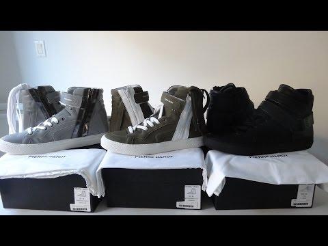 [SOLD] Pierre hardy sneakers Men Collection , reflective grey, black biker strap, khaki color !