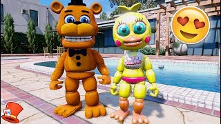 FNAF WORLD ANIMATRONIC FIRST DATE! ADVENTURE FREDDY & TOY CHICA (GTA 5 Mods For Kids FNAF RedHatter)