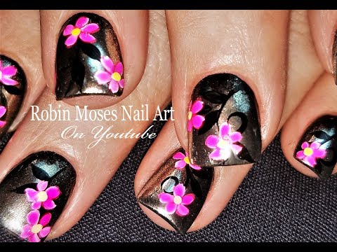 Silver w Pink Neon Daisy Nails | DIY Chrom Nail Art Design Tutorial
