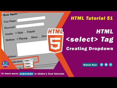 HTML Video Tutorial - 51 -  Html Select Tag And Option Tag