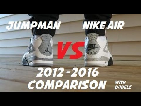 e193b207 2012 VS 2016 Air Jordan 4 White Cement Shoes Comparison + On Feet - YouTube