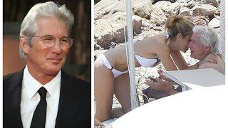 Ричард Гир с молодой любовницой  на пляже в Сицилии