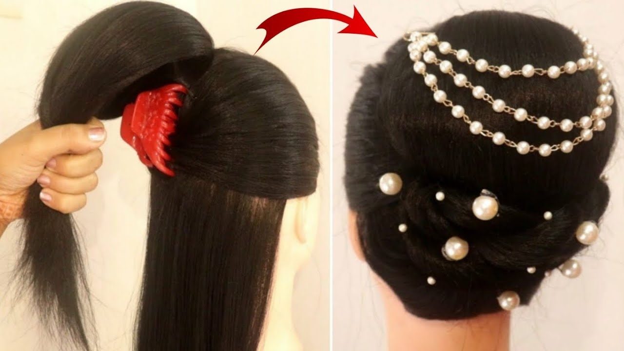 latest fancy hairstyle for party and reception using clutcher || easy hairstyle || wedding hairstyle