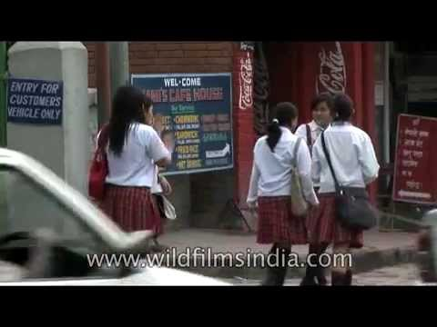 Smartly attired Nepali school-girls on the streets of Kathmandu