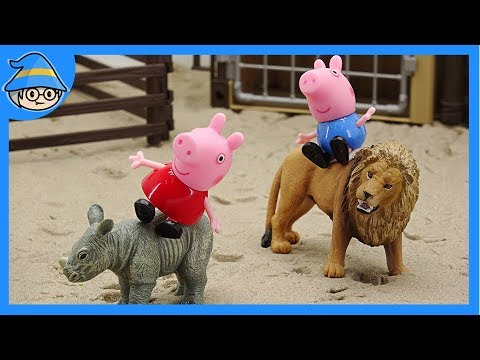 Peppa pig play at the zoo episode. Animal toys for Kids. | Shim