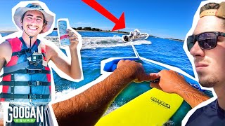 Googans WAKE SURF Behind FISHING BOAT! ( FAIL )