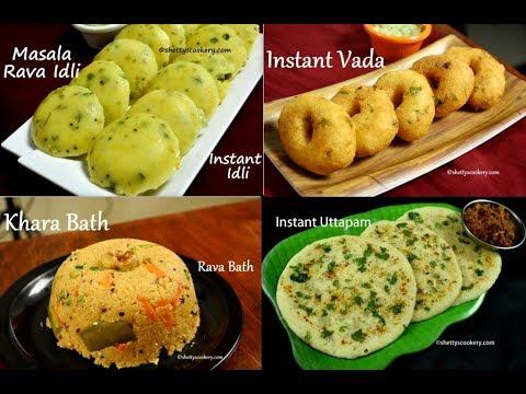 4 Easy Rava Breakfast Recipes| Instant Breakfast Recipes | Quick And Easy Indian Breakfast Recipes