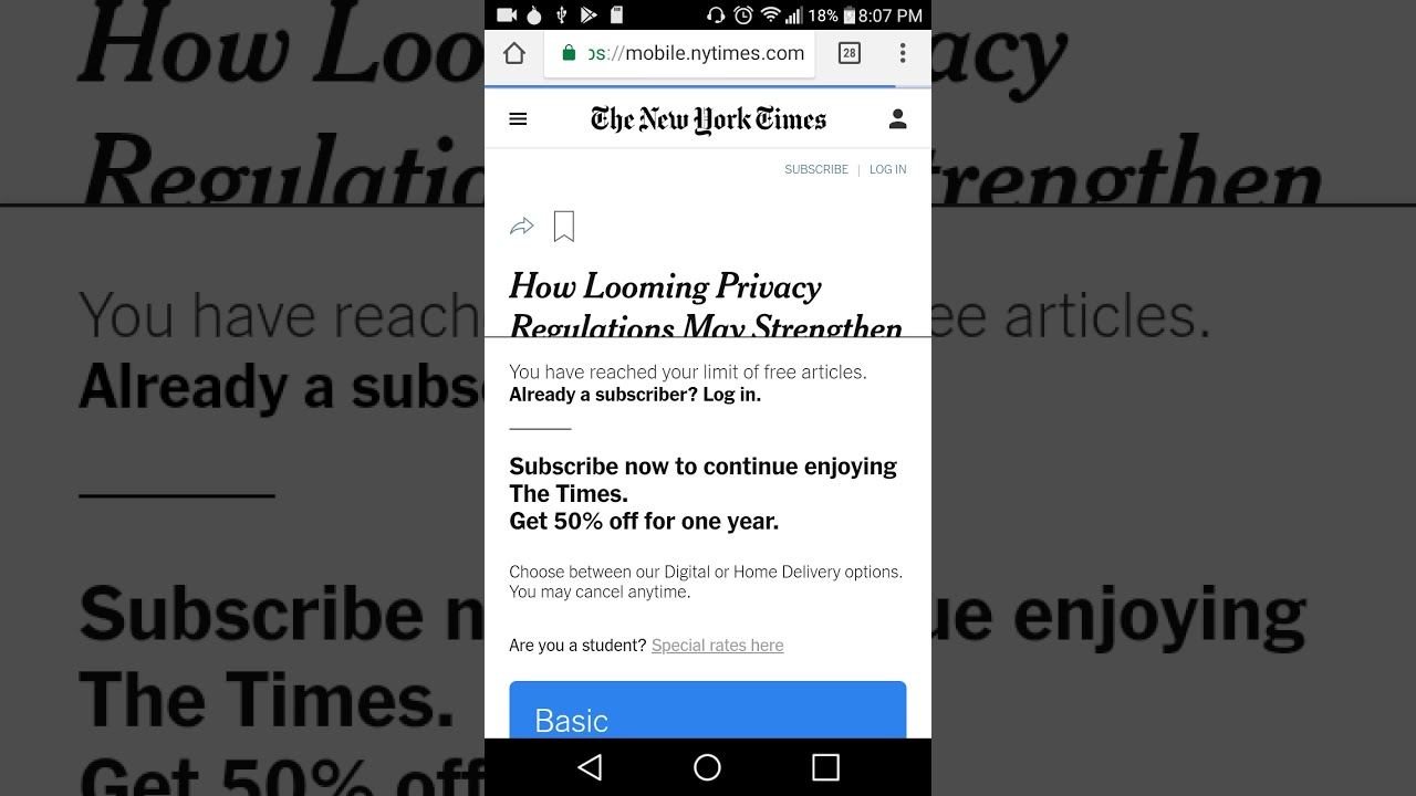 How to bypass a website paywall on Android