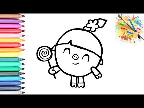 Раскраска для детей ГЕРОИ МУЛЬТИКА МАЛЫШАРИКИ - НЮША. Мультик - раскраска. УЧИМ ЦВЕТА