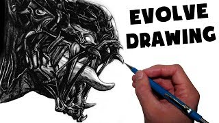 Goliath Monster Drawing - Evolve Fan Art Time Lapse