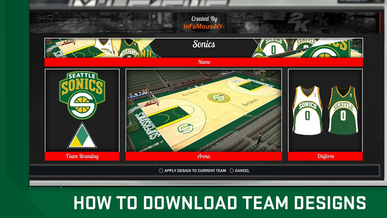 How To Download Team Designs Jerseys Courts In Nba 2k17 Youtube