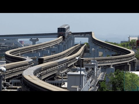 japan's monorail track switching,hd