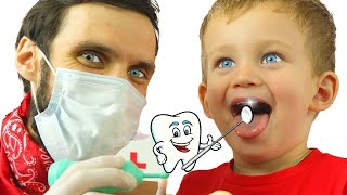 Pretend Play Going to the Dentist   Kids Eat Candy and Brush Teeth by MarkLand