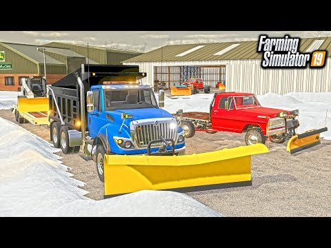 SNOW PLOWING CLEANUP! ALL NEW PLOWS ON DUMP TRUCK, SKID STEER & F100 | FARMING SIMULATOR 2019