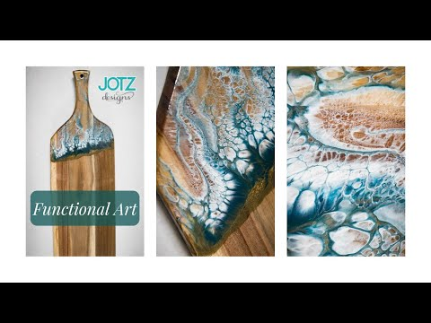 Decorate a cutting / serving board with epoxy resin swipe Charcuterie DIY