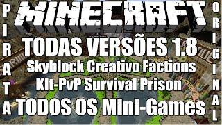 Server de Minecraft 1.8/1.8.8 Skyblock,Factions,KItPvP,Survival,Prison Minigames Pirata e Original