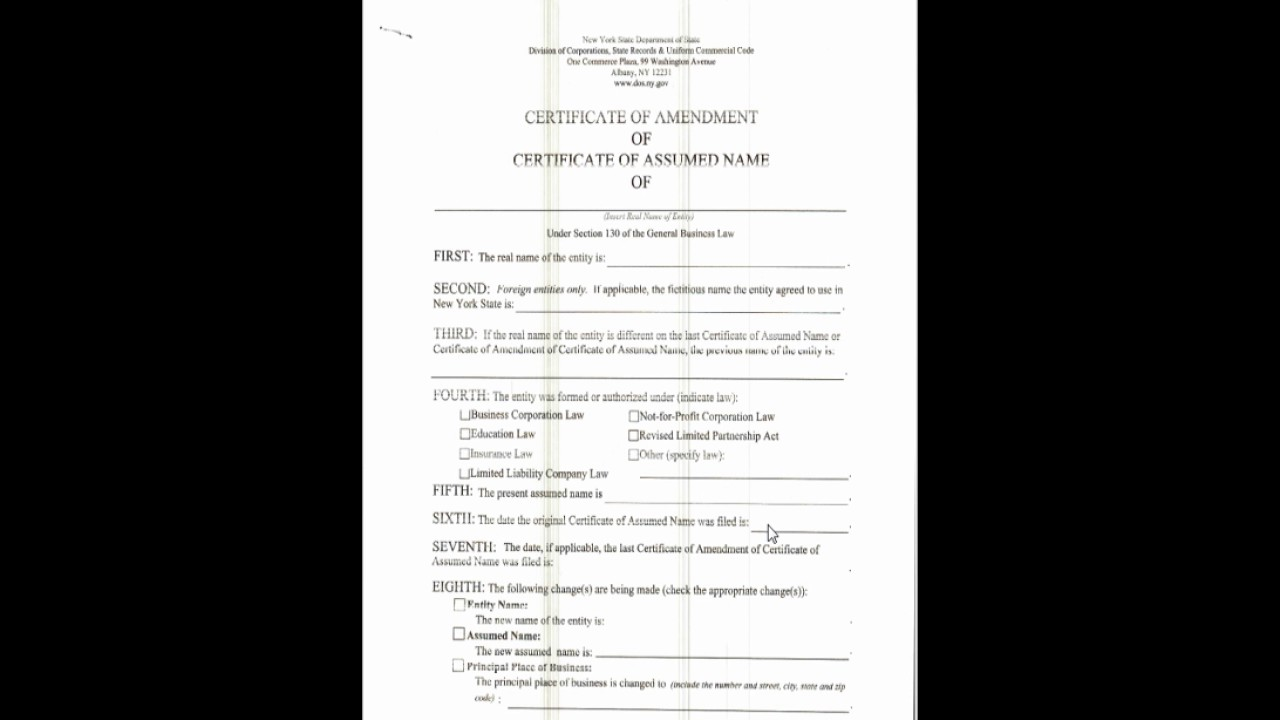 Business Owner Certificate Of Amendment Youtube