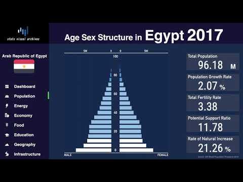 Egypt - Changing of Population Pyramid & Demographics (1950-2100)