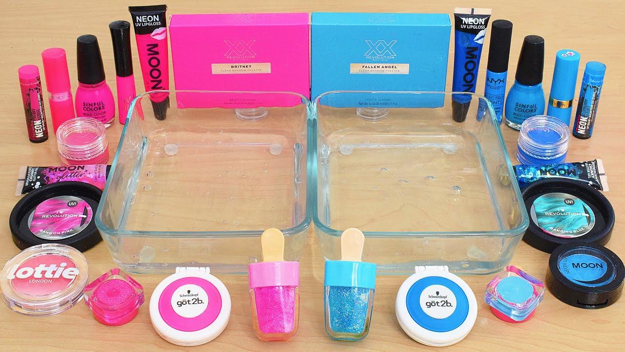 Neon Pink vs Neon Blue - Mixing Makeup Eyeshadow Into Slime ASMR