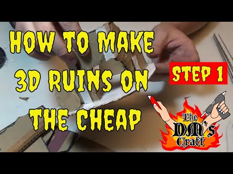 DIY 3D Ruins from Cardboard Miniature Terrain (Dm's Craft #104 Step 1)