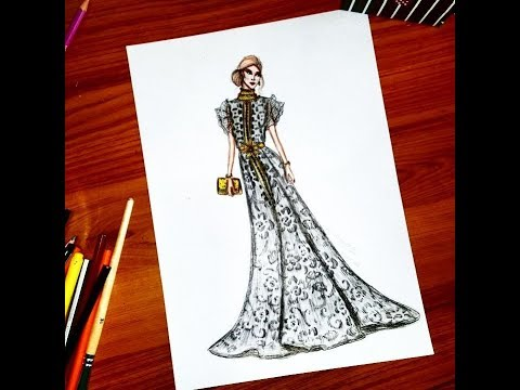 Fashion Illustration How To Draw Lace On Clothes Youtube