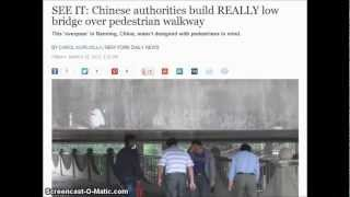 Funny : Chinese Authorities Build Really Low Bridge Over Pedestrian Walkway.