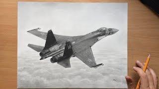 Sukhoi SU-35 Fighter Plane Graphite Pencil Drawing