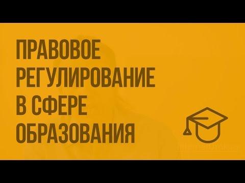 Правовое регулирование в сфере образования. Видеоурок по обществознанию 9 класс