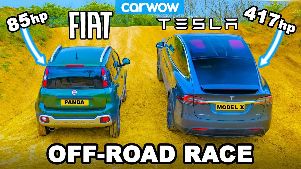 Tesla Model X v Fiat Panda Cross: UP-HILL DRAG RACE & which is best OFF-ROAD!