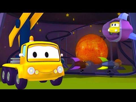 Construction Squad: Dump Truck, Crane & Excavator build a Space Roller Coaster ride for Car City