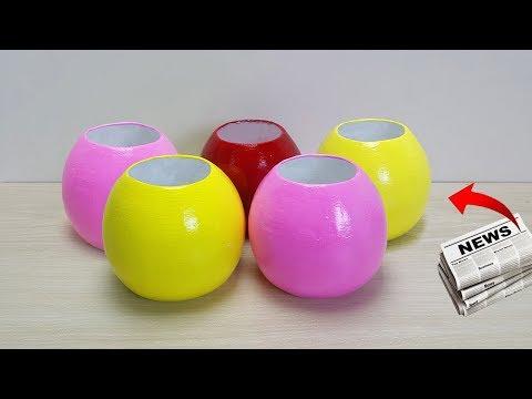 Easy flower vase making with Newspaper // Flower vase making at home